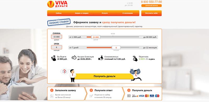 Займы онлайн Вива Деньги 2